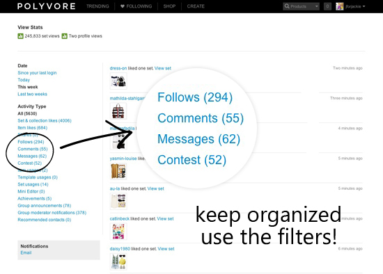 27 MAY 2013 - Polyvore tip keep organized use the filters