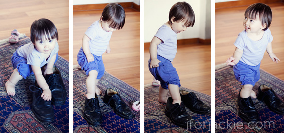 10 June 2013 - Julienne wearing daddy's shoes