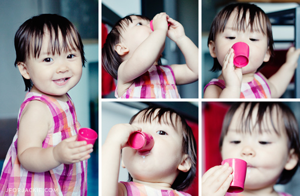 28 June 2013 - Julienne drinking milk in a mini cup