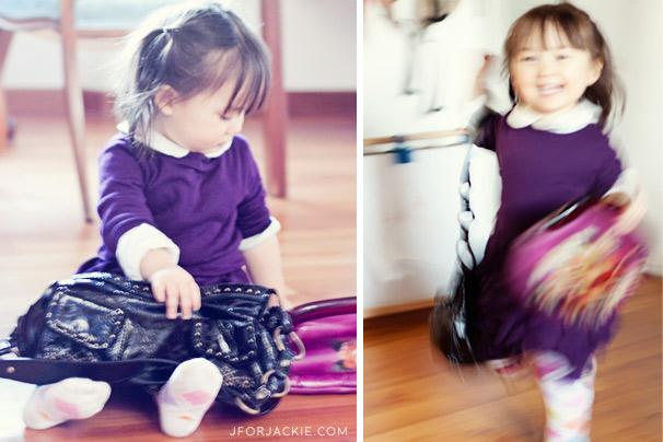 Julienne playing with mommy's bags